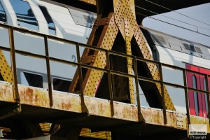 rust on metal bridge for rail transport